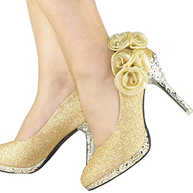 316ee156cc1 getmorebeauty Women s Gold Sequin Rose Lace Flower Dress High Heel 5 B(M) US