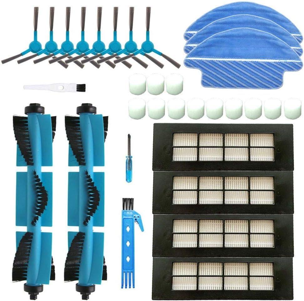 BSDY YQWRFEWYT Kit de Accesorios de Limpieza para Robots aspiradores Conga 3090 Excellence: 8 cepillos Laterales,4 Cepillo Central,1 Filtro HEPA,2 Cepillo de Limpieza