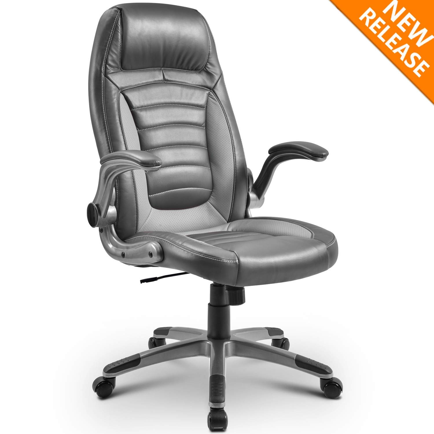 High-Back Executive Office Chair PU Leather Computer Desk Chair Swivel Gaming Chair with Tilt Function, Nylon Base PU Casters with 300lbs Weight Capacity