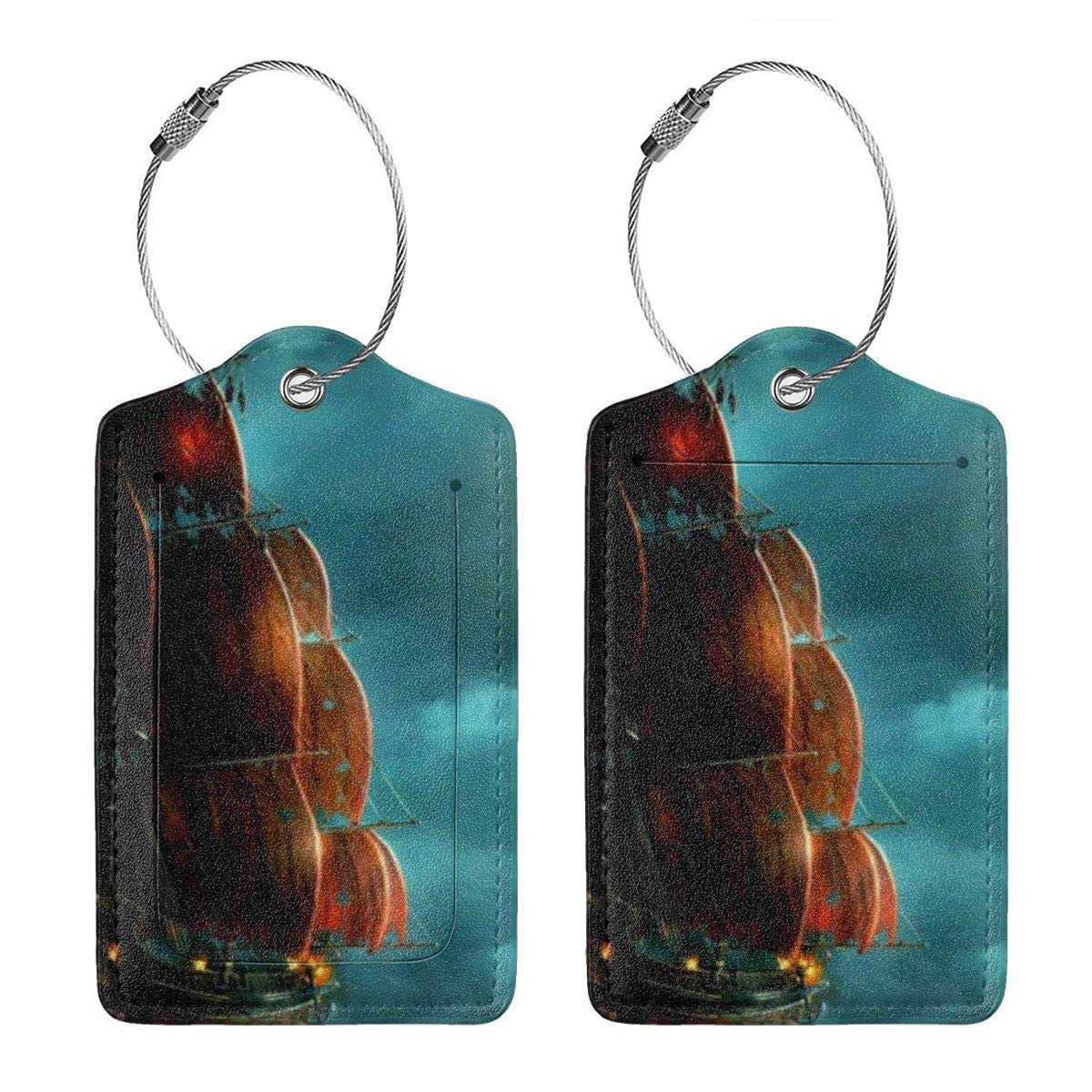 Leather Luggage Tag Fantasy Sailing Boat Ship Luggage Tags For Suitcase Travel Lover Gifts For Men Women 4 PCS