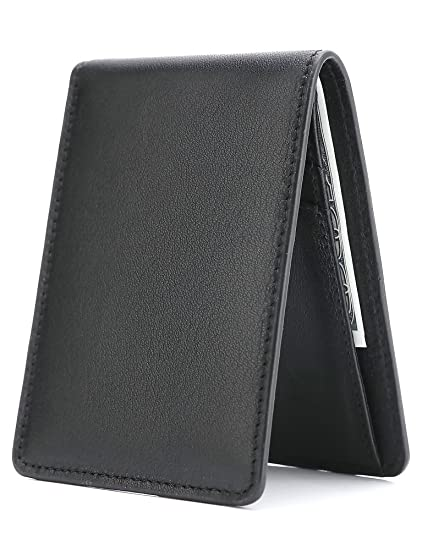 67c05282ef93 Men's Slim Leather Wallet Small Billfold Front Pocket Wallet with RFID  Blocking ID window