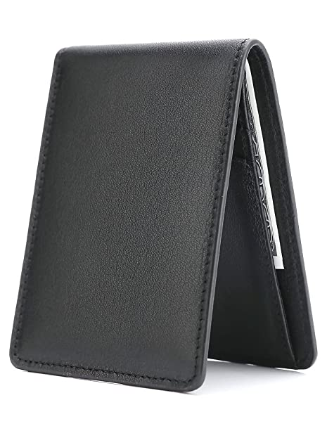 e730b776a0e5 Men's Slim Leather Wallet Small Billfold Front Pocket Wallet with RFID  Blocking ID window