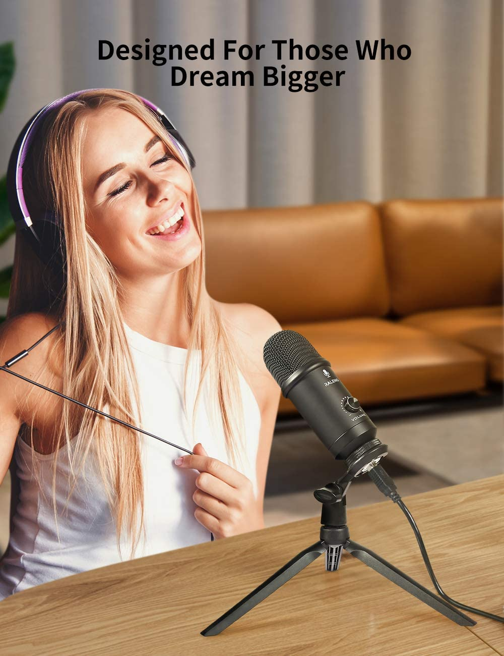 RALENO Professional Studio Cardioid Condenser Mic Kit Compatible with Mac PC Laptop for Skype YouTube Teaching Gaming Recording. USB Microphone for Computer