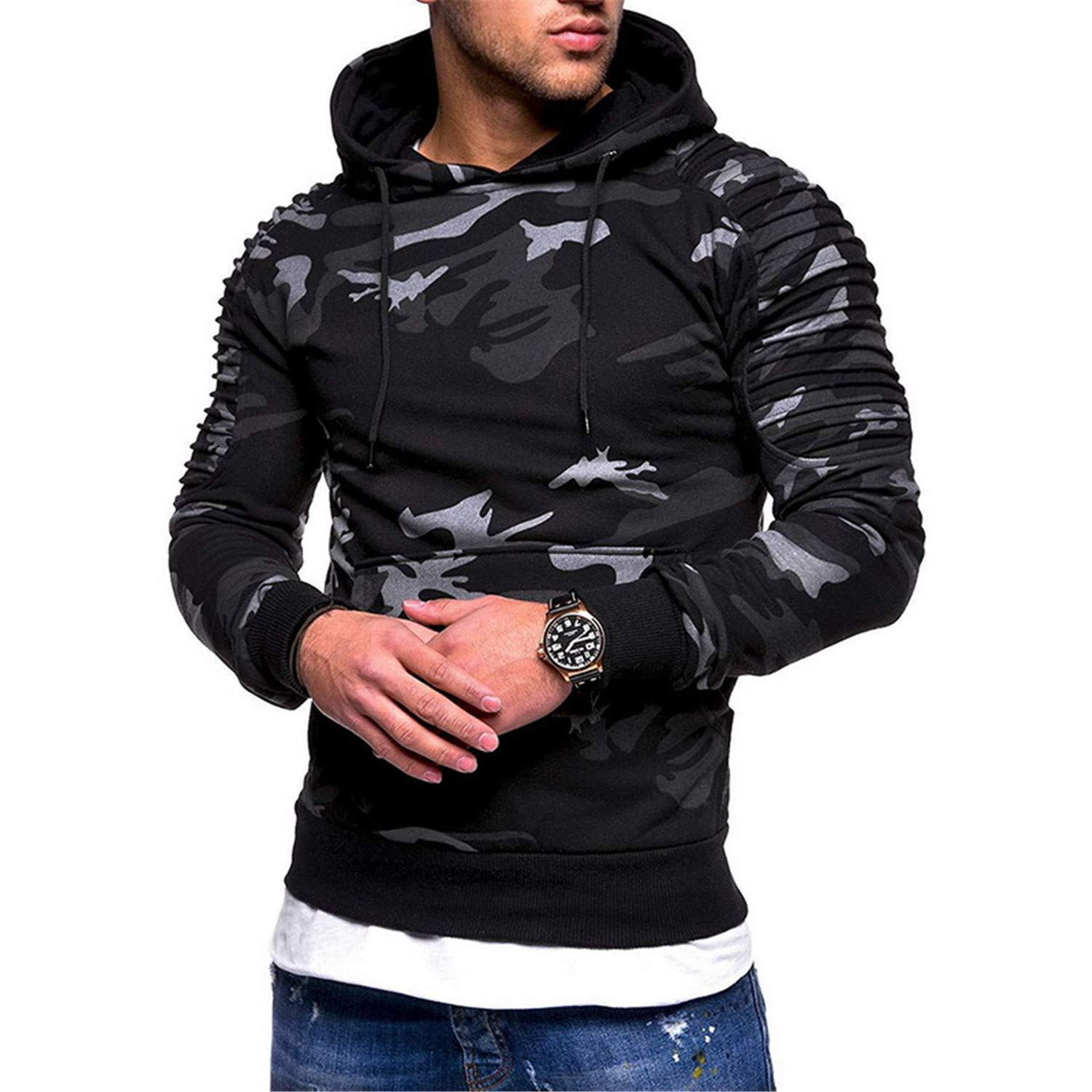 Camouflage Male Camo Hoody Hip Hop Military Hoodie Plus Size 3XL