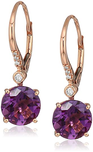 a6a7f3aaa Image Unavailable. Image not available for. Color: Effy Womens 14K Rose  Gold Amethyst Drop Earrings, Purple ...