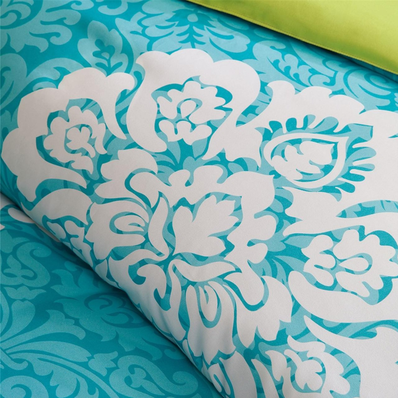 Modern Teen Bedding Girls 4 Piece Reversible Comforter Set Aqua Teal Blue Lime Green Floral Damask Print. Includes Bonus Sleep Mask From Designer Home. (Twin/twin Xl) by ID (Image #3)