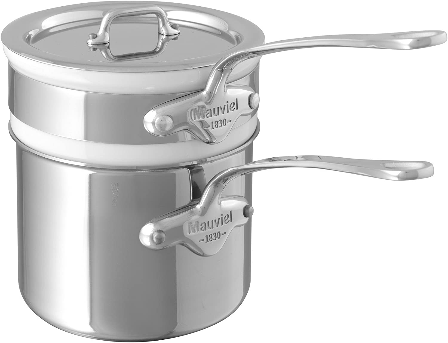 Mauviel Made In France M'Cook 5204.12 0.9 Quart Bain Marie with Lid, Cast Stainless Steel Handle