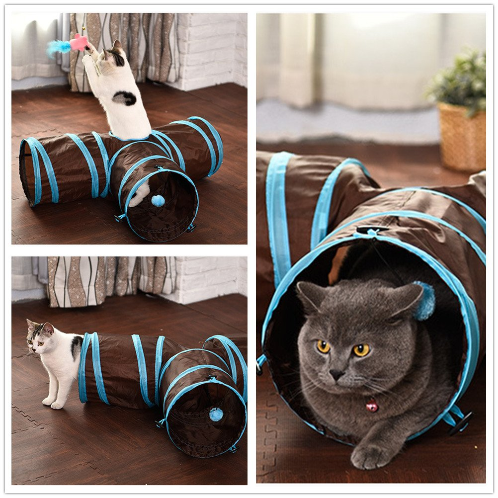 3 Way Cat Tunnel, Duoles Collapsible Pet Toy Tunnel with Ball for Cat, Puppy, Kitty, Kitten, Rabbit (Blue)