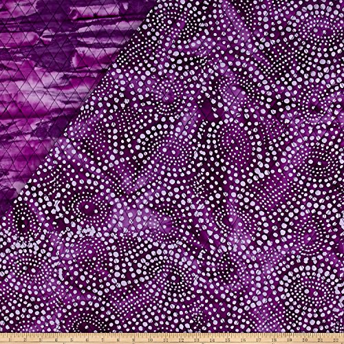 Textile Creations Double Face Quilted Indian Batik Abstract Dots Purple Fabric By The - Pre-quilted Fabric Yard The By