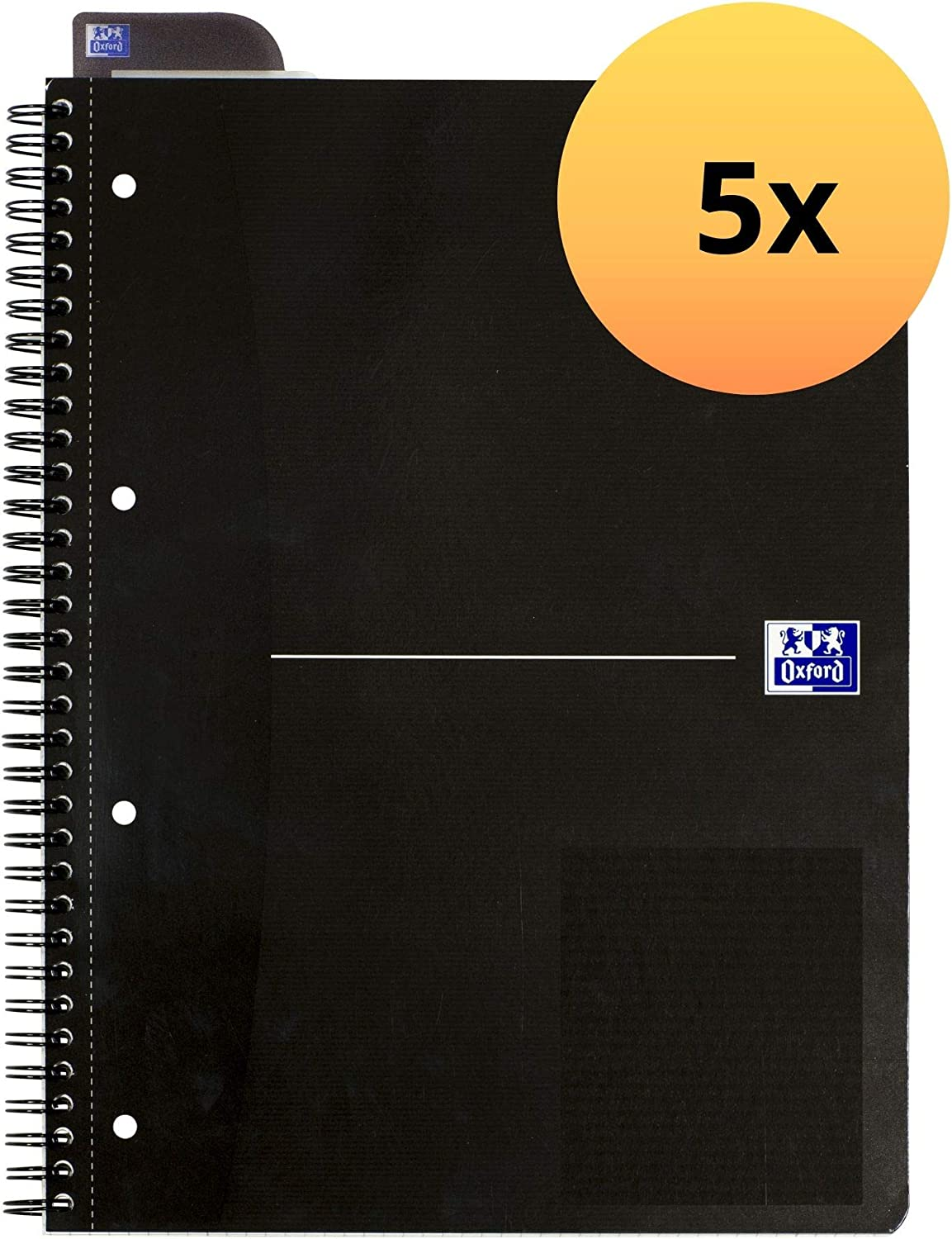"""Oxford 100050224–Original Blue A4+ College Notepad Lined 8mm 70Sheets 90g/m² Optic Paper/Pack of 5/Blue Office College Pad""""Smart Black"""" A4+, Lined 8 Mm 0"""