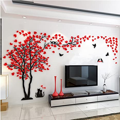 Amazon Com 3d Huge Couple Tree Diy Wall Stickers Crystal Acrylic Wall Decals Wall Murals Nursery Living Room Bedroom Tv Background Home Decorations Arts Red Left Xl Arts Crafts Sewing,Baby Closet Organizers Ideas