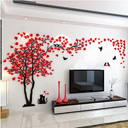 3d Huge Couple Tree Diy Wall Stickers Crystal Acrylic Wall Decals Wall Murals Nursery Living Room Bedroom Tv Background Home Decorations Arts