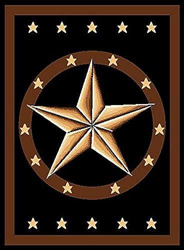 Texas Western Star Rustic Cowboy Decor Brown Black Area Rug 625 Black Furnishmyplace 9'x13'