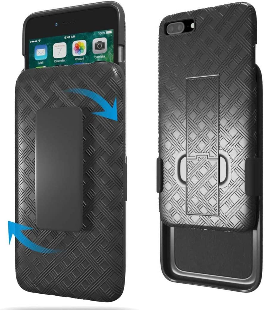 Amazon Com Rome Tech Holster Case With Belt Clip For Apple Iphone 7 8 Plus Slim Heavy Duty Shell Holster Combo Rugged Phone Cover With Kickstand Compatible With Iphone 7 8 Plus Black