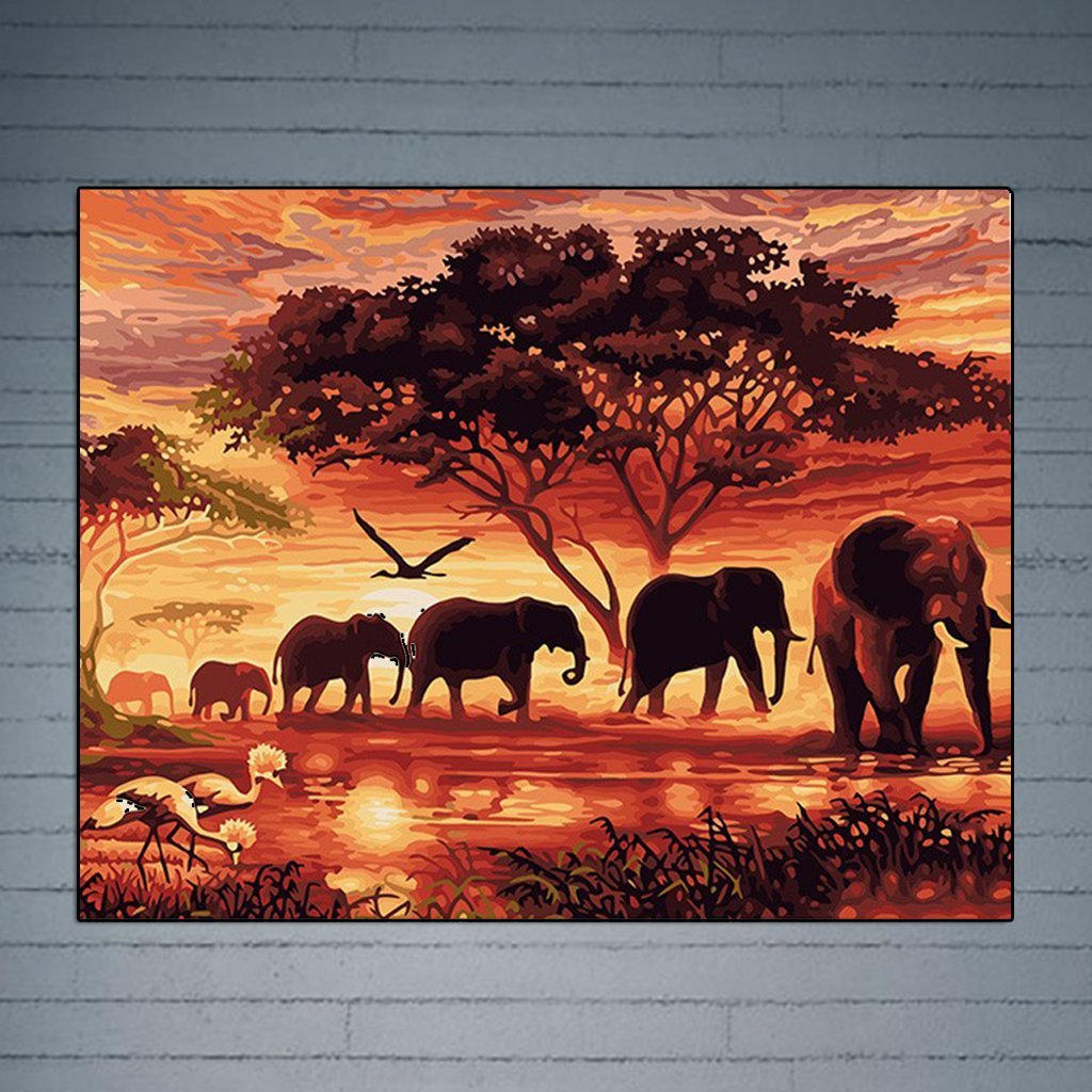 DIY Colori Olio Pittura Natale Regali ECMQS DIY Dipingere Secondo i Numeri per Adulti Bambini Senza Telaio Elefanti 40 x 50 cm Lino Tela