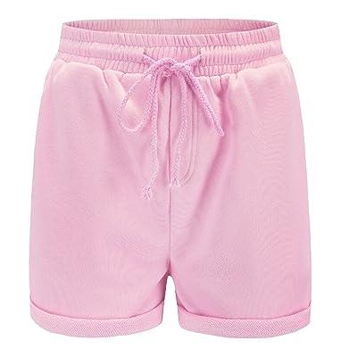 WSPLYSPJY Women High Waist Drawstring Fashion Solid Color Elastic Waist Shorts