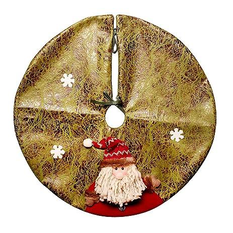 christmas tree skirt vintage santa claus tree skirt double layer snowflake embellishment plush - Vintage Christmas Tree Skirt