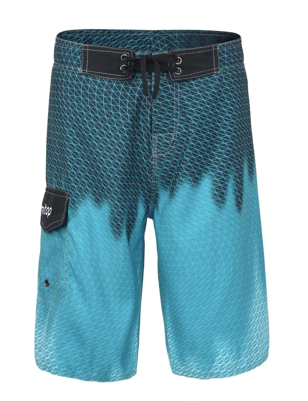 unitop Men's Tropical Color Swim Trunks with Mesh Lining Blazing Blue-30