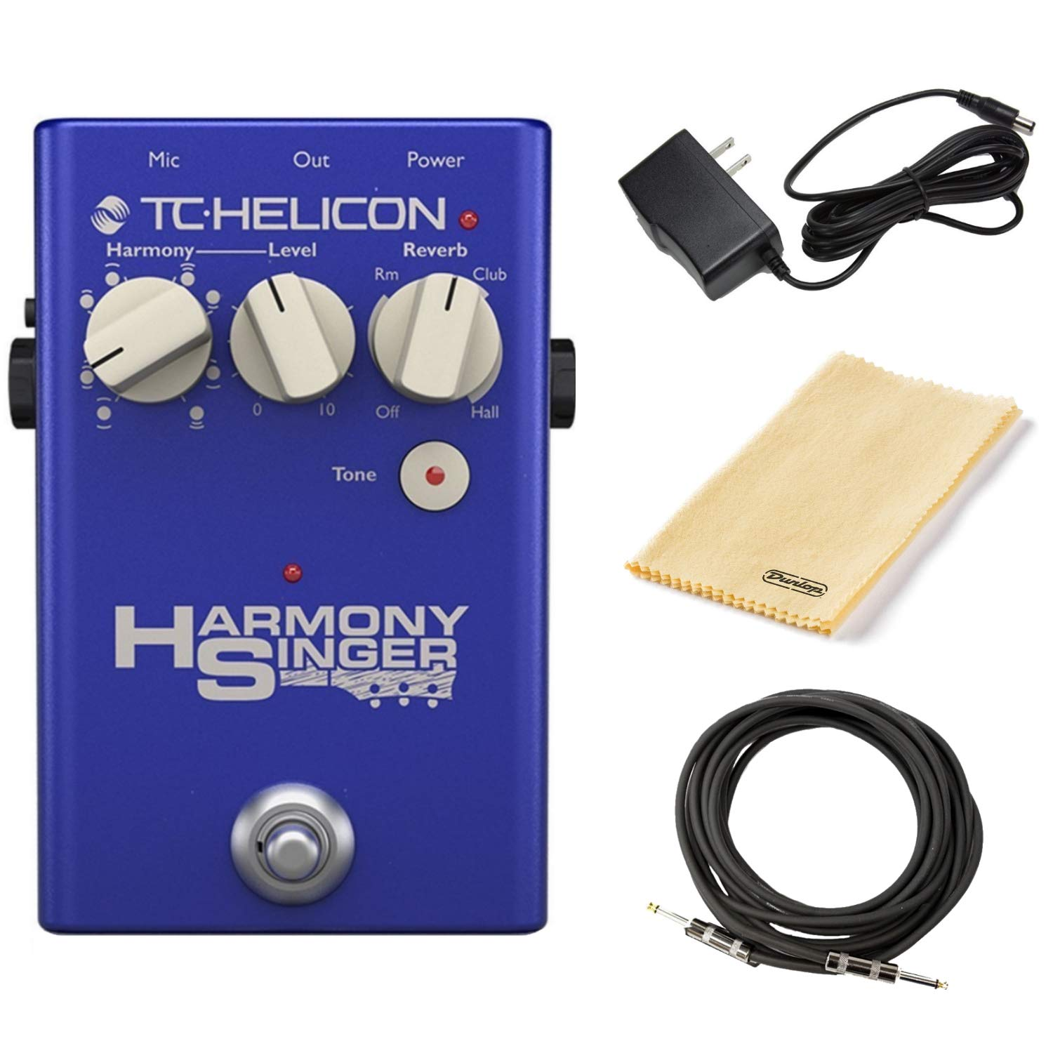 TC Helicon Harmony Singer 2 Vocal Effects Processor Bundle with 9V Power Supply, Dunlop Polish Cloth, and 10-foot Instrument Cable
