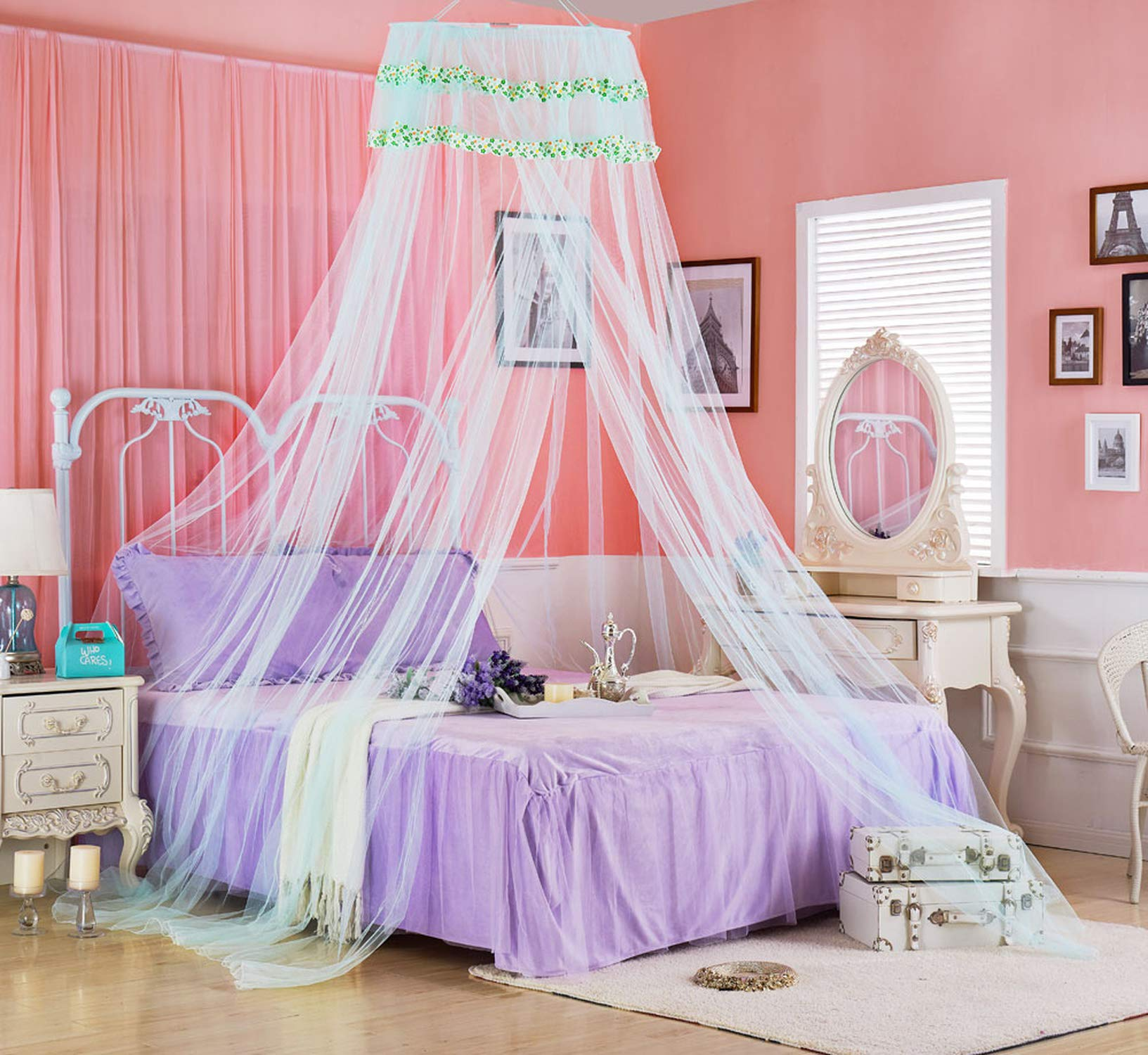 Portable Mosquito Net for Bed Canopy Round Canopy Netting Mesh Lace Curtain Bed Tent Anti Bug Insert Cibinlik Purple Nets,Pink,1.5m (5 feet) Bed by SuWuan mosquito net (Image #3)