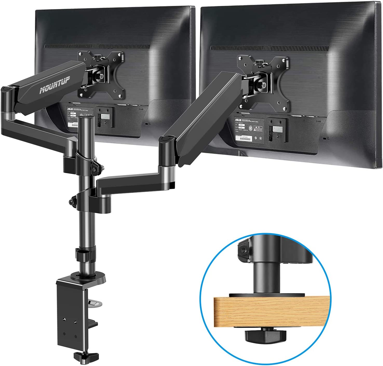 MOUNTUP Dual Monitor Mount Stand - Fully Adjustable Monitor Arm with Gas Spring, Monitor Desk Mount for 2 Computer Screens up to 32 Inch Weighting 17.6 lbs, VESA Monitor Mount Supports Vertical Stack
