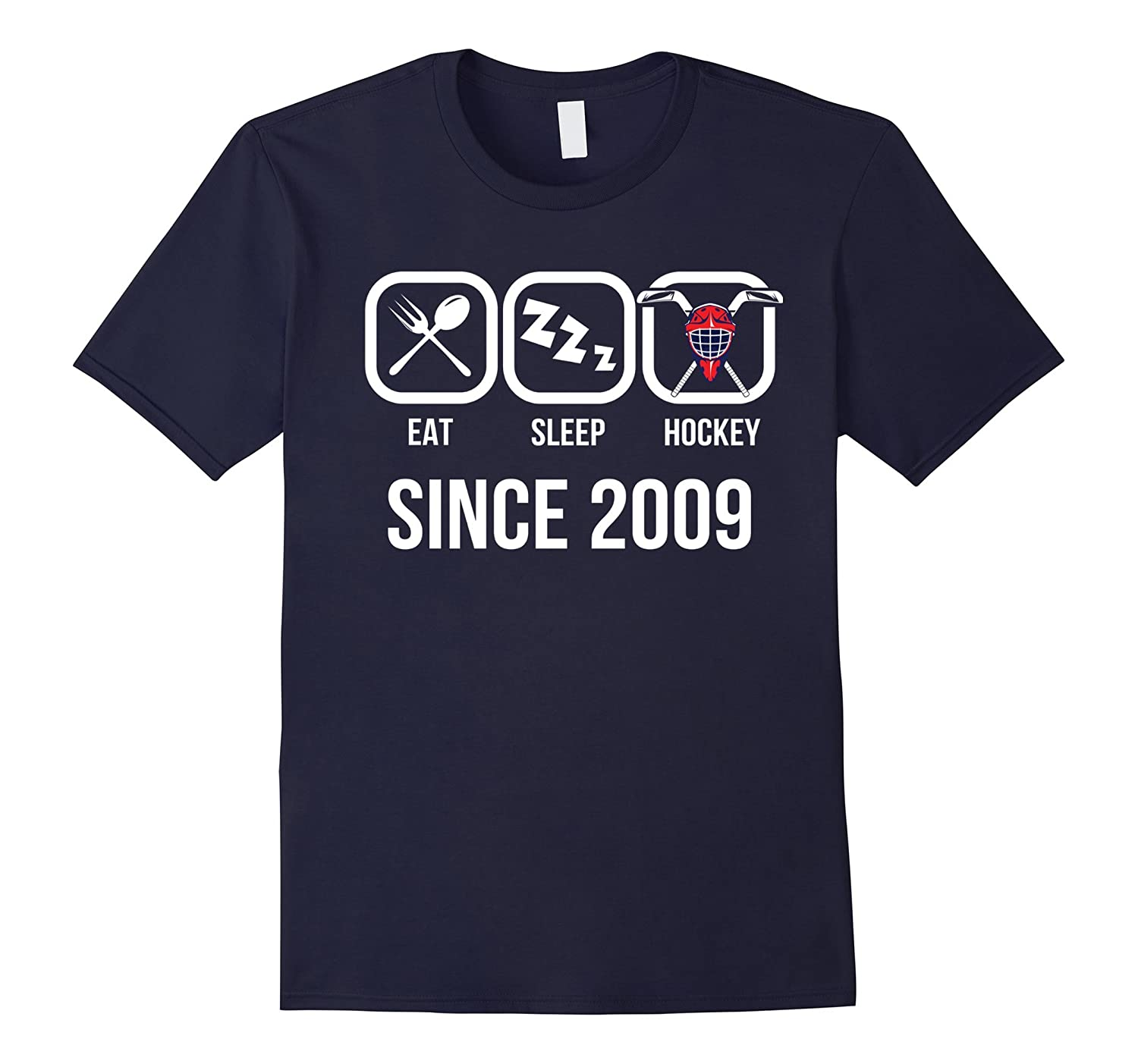 Eat Sleep Hockey Since 2009 T-Shirt 8th Birthday Gift Tee-FL