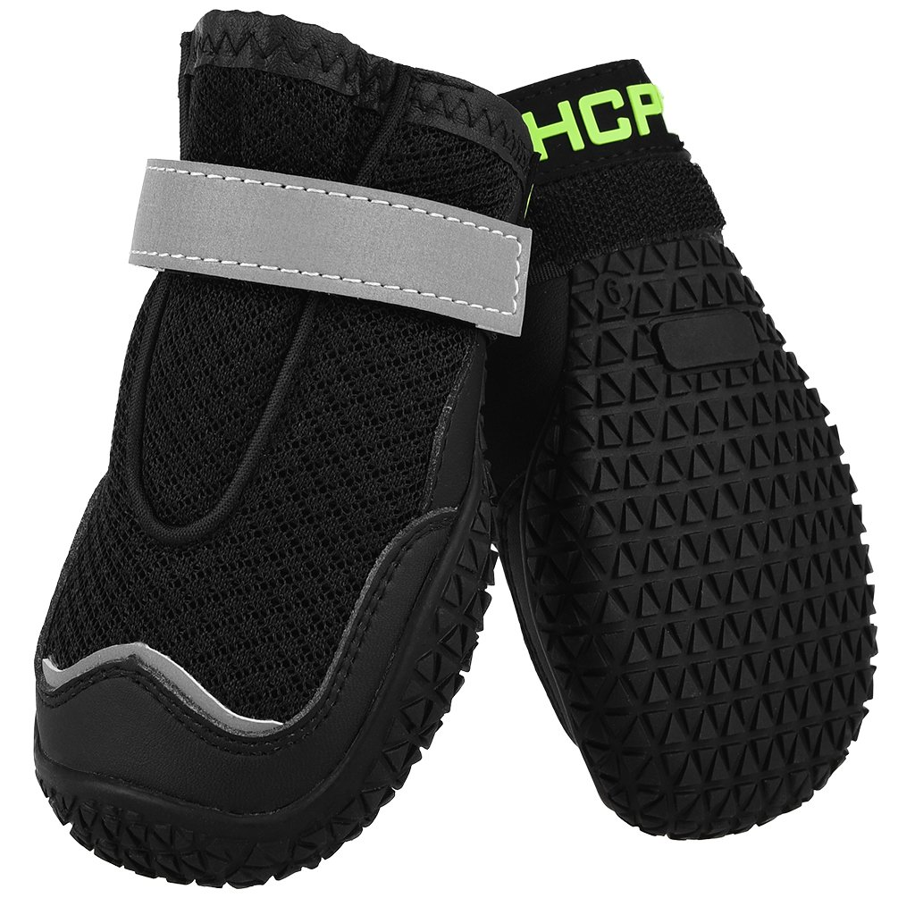 Black 3 black 3 Dog Boots, 4 Sets of Dog shoes, wear-Resistant, Sturdy Non-Slip shoes, mesh Breathable for Medium and Large Dogs