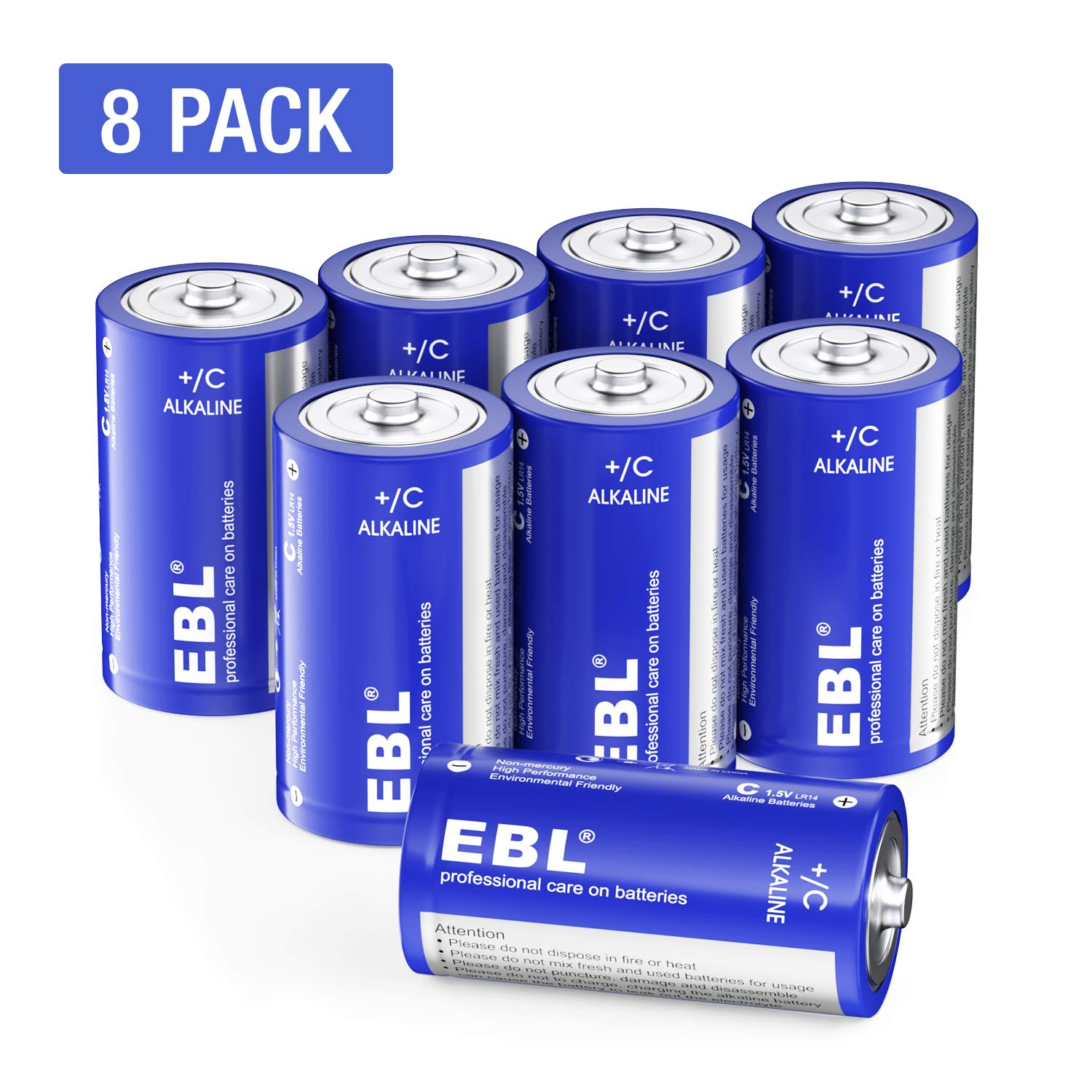 EBL C Batteries Alkaline C Batteries - Durable and Lasting Performance Alkaline Batteries for Toys, Remotes, Flashlights, Camping Lights, Electronic Devices (8 Pack)