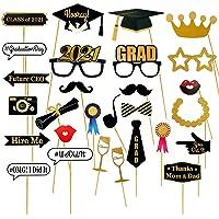 Dsaren 28 Piezas Graduation Photo Booth Props 2021 Accesorios Photocall Atrezzo Fotografia con Palitos Papel Puntos…