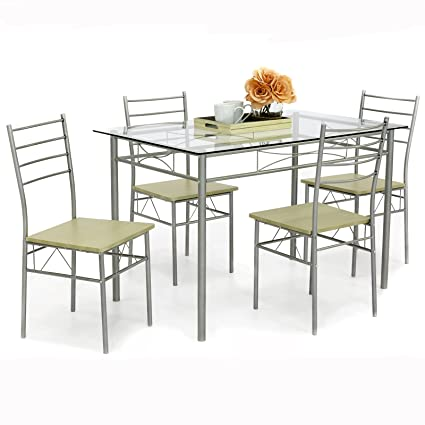 Charmant Best Choice Products Home 5 Piece Dining Table Set W/Glass Table Top,