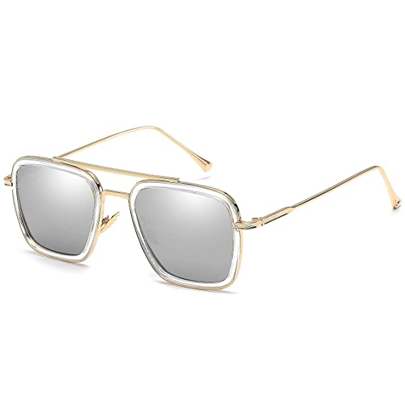 SHEEN KELLY Retro Gafas de sol Tonny Stark Marco de metal para hombres mujeres Gafas de sol Iron Man cuadradas