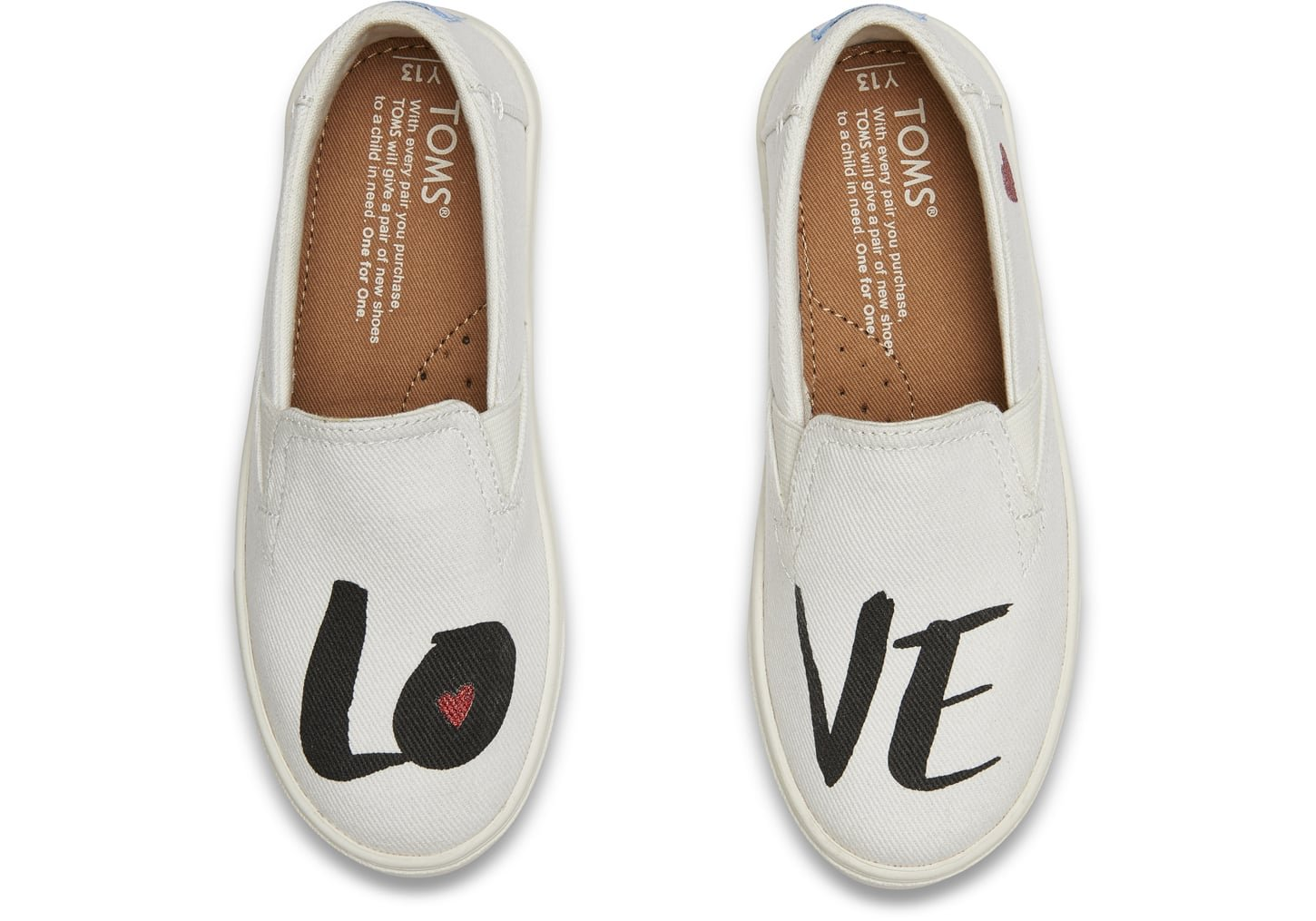 TOMS Youth Luca Slip Ons White Denim Love 10011482 Youth Size 5.5 by TOMS Kids (Image #3)
