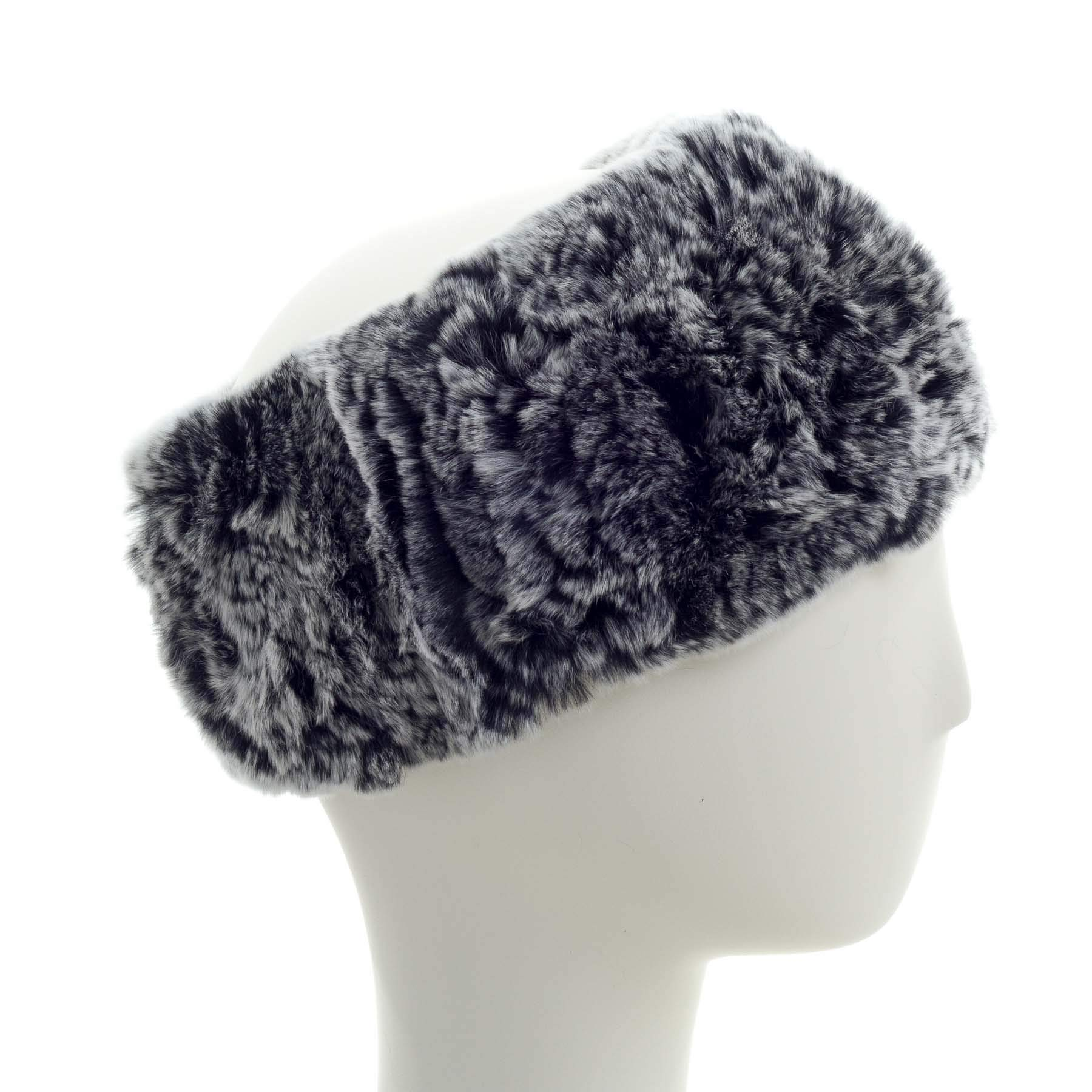 Surell Rex Rabbit Textile Knit Headband - Winter Scarf Ear Warmers - Luxury Gift (Black Frost)