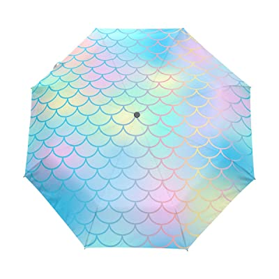 Windproof Auto Open Close Abstract Beautiful Fish Scale Compact Travel Umbrella