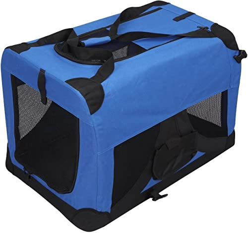 Magshion Folding Soft Crates Kennels Travel Carrier with Metal Frame, 28-Inch, for Pet Up to 40lb