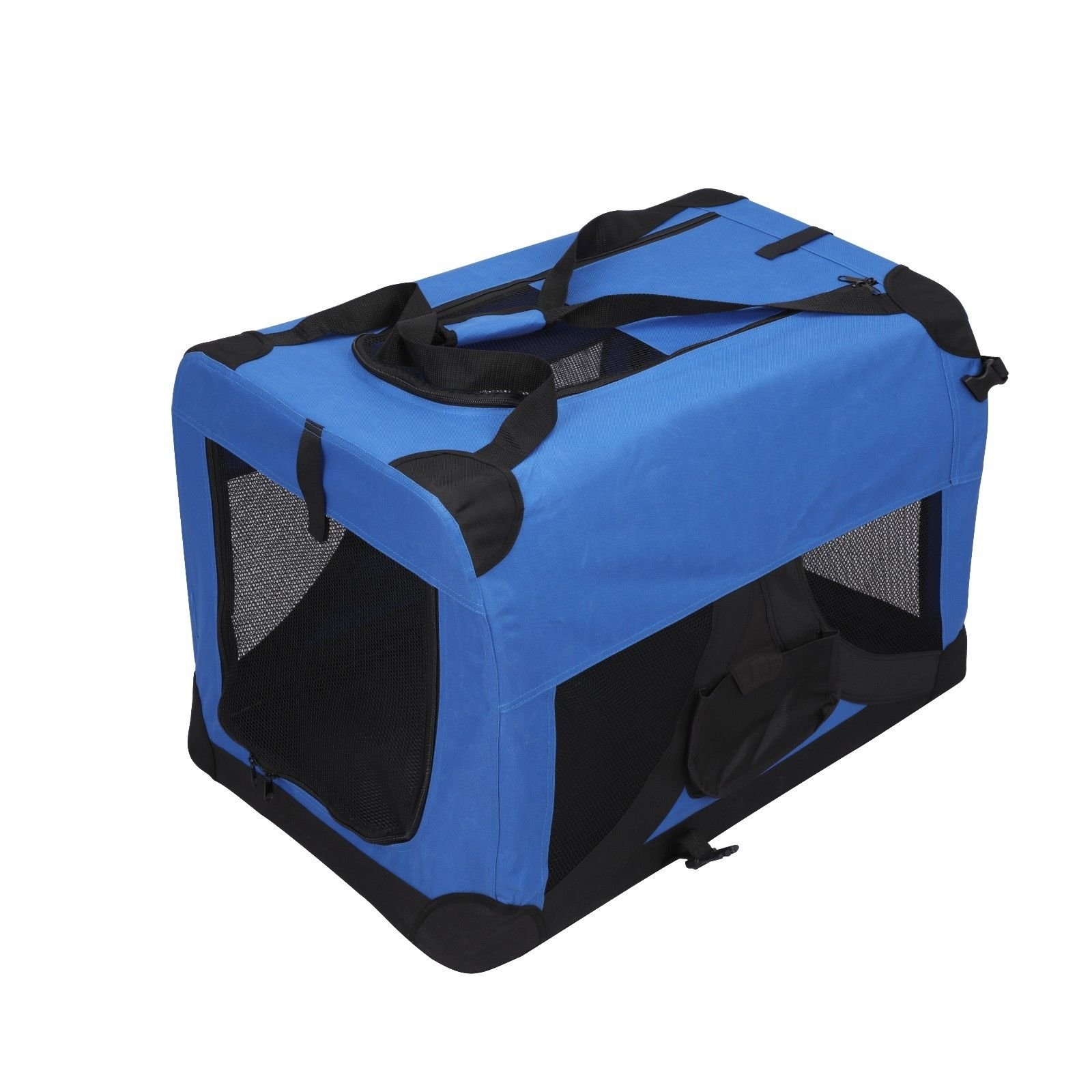 Magshion Folding Soft Crates Kennels Travel Carrier with Metal Frame, 20-Inch, for Pet Up to 15lb (Blue) by Magshion