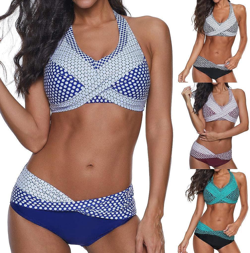 LUCKDE-Damen Bademode Push Up Bikini Set Zweiteilige Badeanzug Strandkleidung Crossover Neckholder Triangel Oberteil Strandmode Sport Split Blumen Bikinihose Bathing Suit