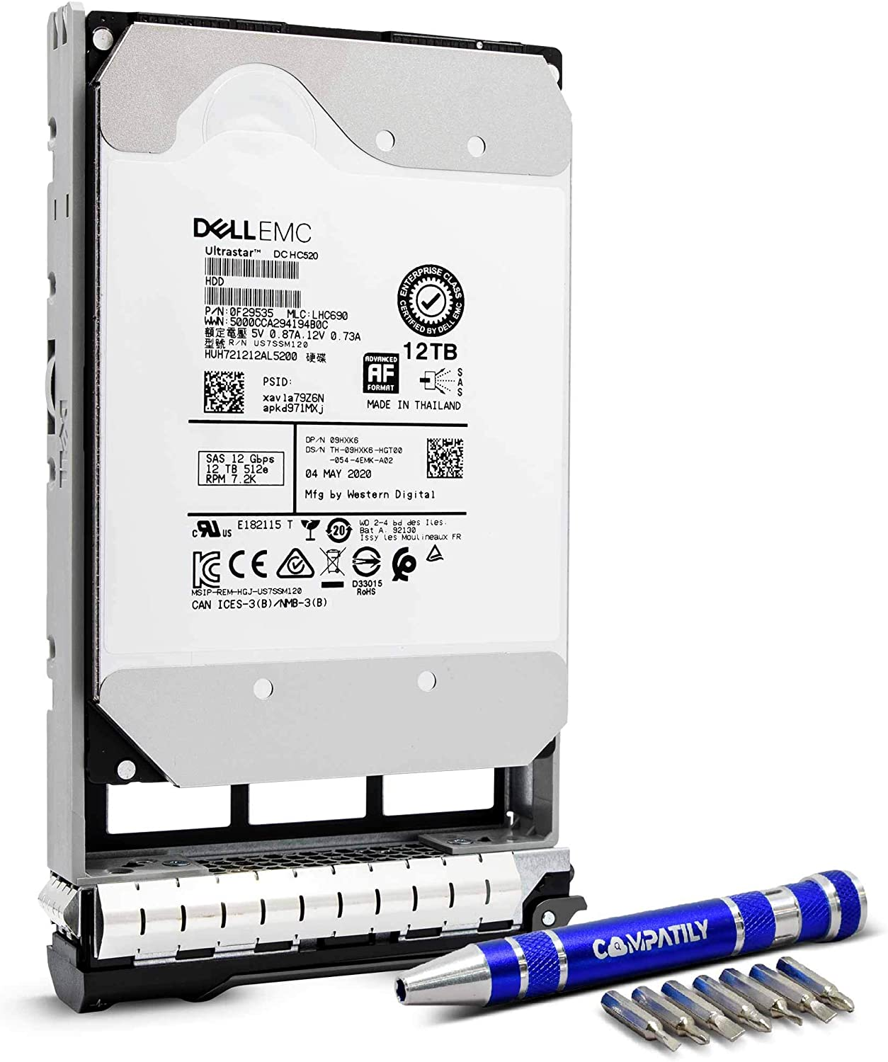 Dell 400-AUTD 12TB 7200 RPM 512e SAS 12Gb/s 3.5-Inch Internal HDD in 13G Hard Drive Tray Bundle with Compatily Screwdriver
