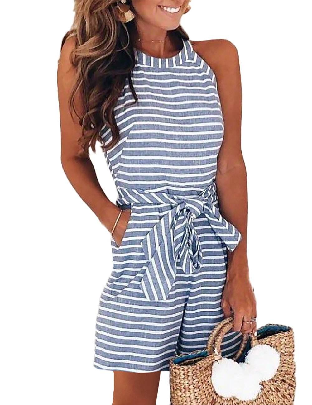 DUBACH Women Casual Striped Sleeveless Short Romper Jumpsuit L Blue