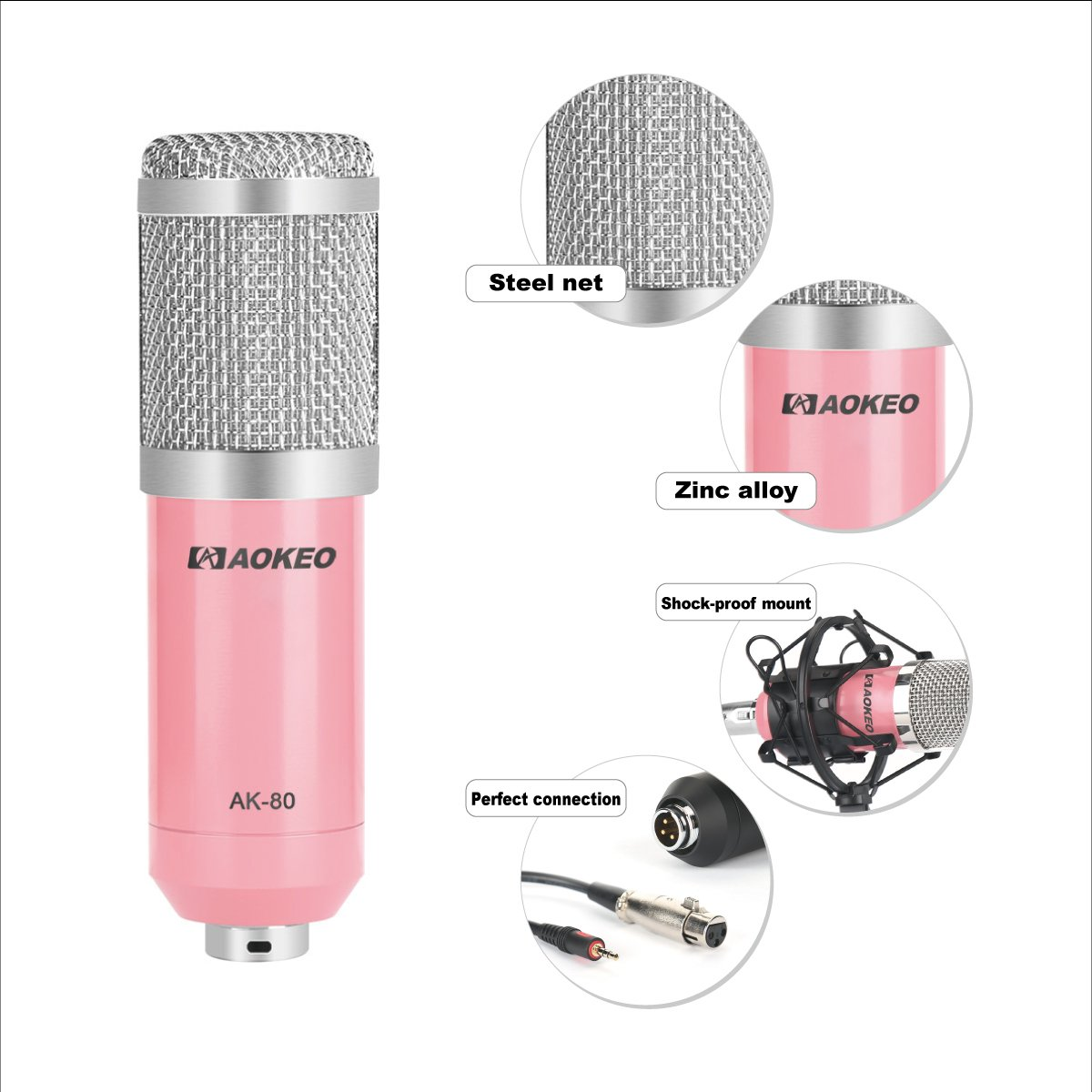 Aokeo AK-80 Professional Studio Broadcasting & Computer Recording Microphone for PC Laptop Skype MSN YouTube Microphone (Pink)
