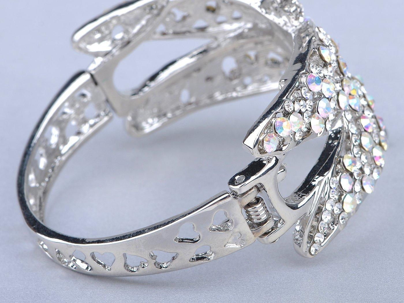 Alilang Womens Silvery Tone Clear Rhinestones Dragonfly Heart Cutout Bangle Bracelet by Alilang (Image #3)
