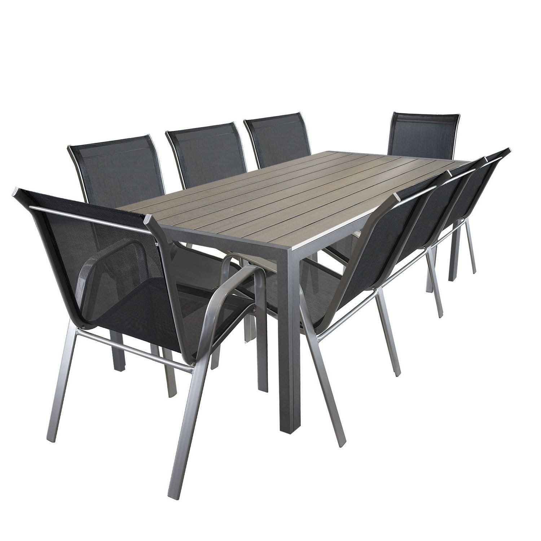 9tlg. Sitzgarnitur Aluminium Polywood Gartentisch 205x90cm Stapelstuhl pulverbeschichter Gartenstuhl mit Textilenbespannung Terrassenmöbel Gartengarnitur Sitzgruppe