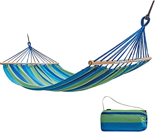 KingCamp Single Double Protable Cotton Hammock with Foldable Wood Spreader Bars for Outdoor Garden Patio Yard Poolside, Supports 220lbs 330lbs, Carry Bag Included
