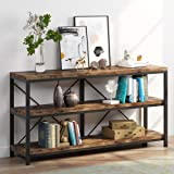 Sofa Table, 3 Tiers TV Console TV Stand Long Sofa Table with Storage Shelves for Hallyway, Living Room, 55 Inch