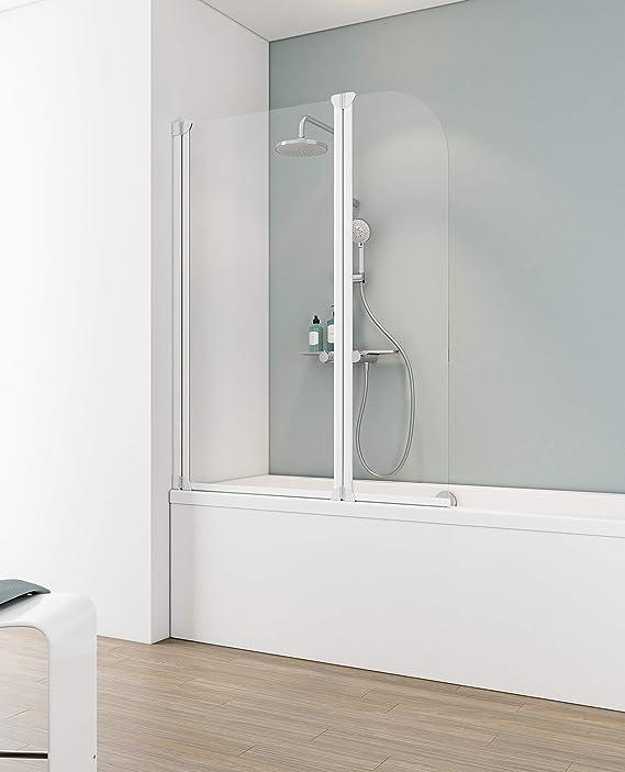 Schulte 4061554000430 Pare con tapa, mampara de ducha reversible, 2 persianas, giratorios, vidrio – Perfil blanco, 115 x 140 cm), transparente, 115 cm: Amazon.es: Bricolaje y herramientas