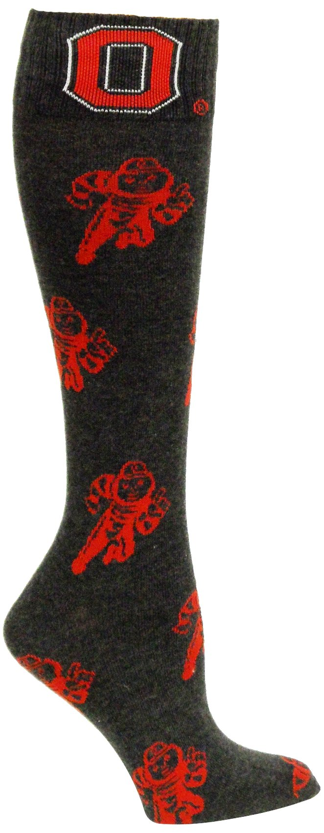 NCAA Ohio State Buckeyes Charcoal Gray Red Brutus Dress Socks by Donegal Bay