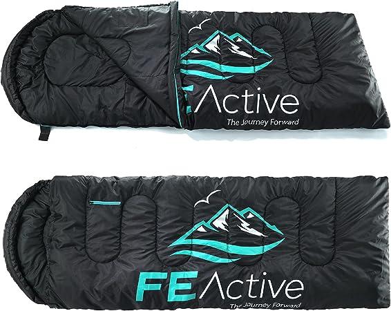 FE Active Saco de Dormir Camping - Extra largo con Capucha, Saco de Dormir Resistente al Agua para Exteriores 3-4 Estaciones, Excursionismo, Trekking, ...