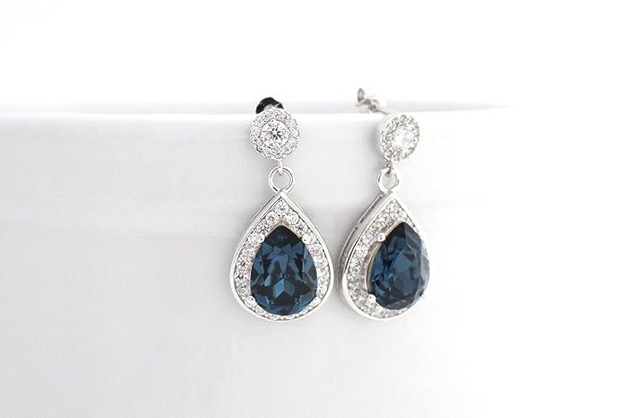 3af65eb66ee42 Amazon.com: Navy Blue Bridal or Bridesmaid Earrings Dark Montana ...