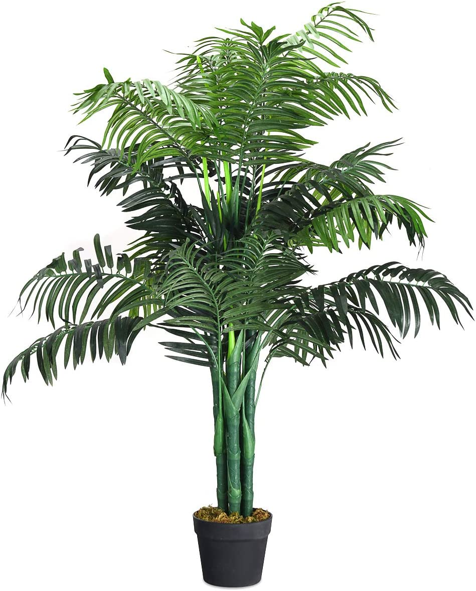Amazon Com Goplus Artificial Palm Tree Fake Tropical Plant With Plastic Pot Real Touch Technology For Home Office Living Room Decor 3 5 Feet Kitchen Dining