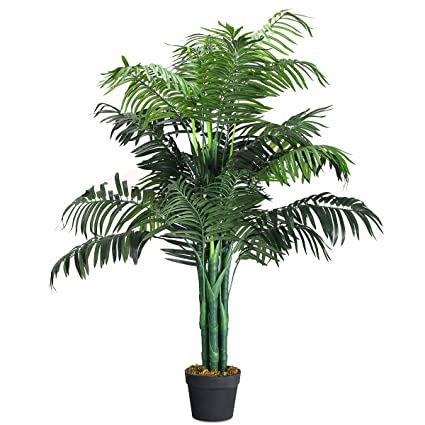 Amazon Goplus Fake Palm Tree Artificial Greenery Plants In Nursery Pot Decorative Trees For Home Office Lobby 35Ft Kitchen